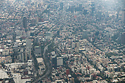 Aerial view showing the haze of pollution over the skyscrapers along Paseo de la Reforma from Chapultepec Park October 25, 2017 in downtown Mexico City, Mexico. Mexico City is the capital of Mexico and and the most populous city North America.