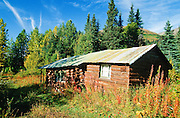 Alaska. A rustic cabin along the Seward Highway.