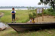 Children in Amazon River village in Peru