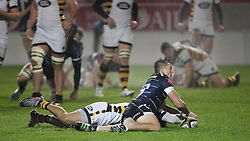 Sam Bedlow of Sale Sharks (R) scores his sides second try - Mandatory by-line: Jack Phillips/JMP - 04/11/2016 - RUGBY - AJ Bell Stadium - Sale, England - Sale Sharks v Wasps - The Anglo-Welsh Cup