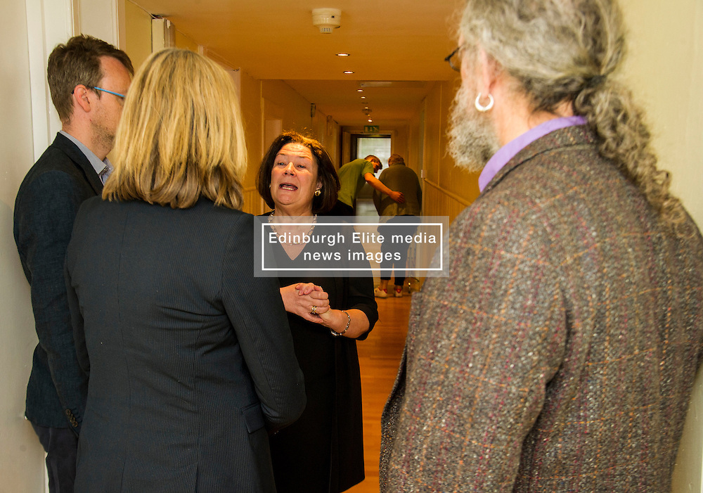 Pictured: <br /> <br /> Scottish Greens Health and social care spokeswoman Alison Johnstone took the opportunity e to meet staff and visitors at Leuchie House respite centre in North Berwick today.<br /> <br /> Ger Harley | EEm 26 April 2016
