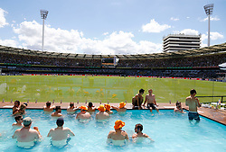 General view of the pool deck during day two of the Ashes Test match at The Gabba, Brisbane.
