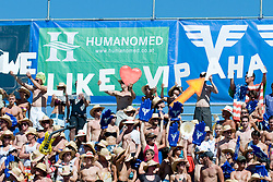 Fans with sings cheering at A1 Beach Volleyball Grand Slam tournament of Swatch FIVB World Tour 2010, final, on August 1, 2010 in Klagenfurt, Austria. (Photo by Matic Klansek Velej / Sportida)