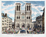 Restablishment of the Roman Catholic  church in France, April 1802.  Napoleon's ceremonial entry into Notre Dame, Paris, Easter 1802.