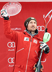 05.03.2017, Podkoren, Kranjska Gora, SLO, FIS Weltcup Ski Alpin, Kranjska Gora, Slalom, Herren, Siegerehrung, Pokal Vitranc, im Bild Marcel Hirscher (AUT) // Marcel Hirscher of Austria during the winner Ceremony for the men's Slalom of FIS Ski Alpine World Cup at the Podkoren in Kranjska Gora, Slovenia on 2017/03/05. EXPA Pictures © 2017, PhotoCredit: EXPA/ Johann Groder
