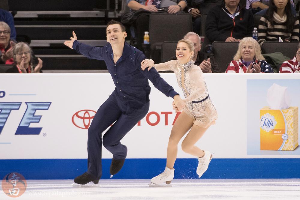 January 4, 2018; San Jose, CA, USA; Alexa Scimeca-Knierim and Christopher Knierim perform in the pairs short program during the 2018 U.S. Figure Skating Championships at SAP Center.