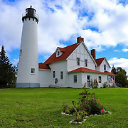 """""""Point Iroquois Gardens""""<br /> <br /> The beautiful historic Point Iroquois Light Station and part of the gardens.<br /> <br /> Lighthouses of the Great Lakes by Rachel Cohen"""