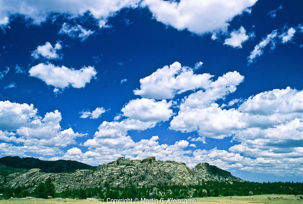 Cumulus mediocris clouds over the Laramie Mountains, Wyoming.
