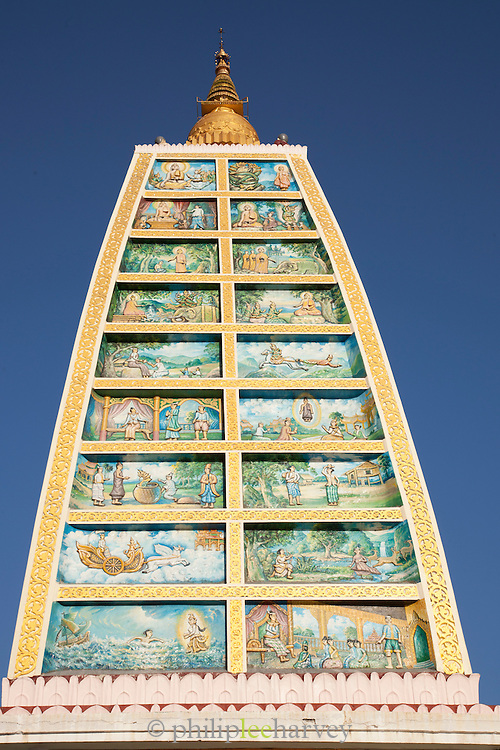 Murals at the Shwedagon pagoda, the most sacred pagoda in the country, in the capital of Yangon (Rangoon), Myanmar
