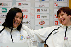 Players Urska Vidic and Sergeja Stefanisin at press conference of Krim before Champions League handball match RK Krim Mercator vs. HC Leipzig, on February 10, 2010 in M Hotel, Ljubljana, Slovenia.  (Photo by Vid Ponikvar / Sportida)