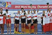 Chungju, South Korea.  Final Women's Quadruple Sculls Medel presentation, awards dock. 2013 FISA World Rowing Championships, Tangeum Lake International Regatta Course.16:47:36  Saturday  31/08/2013 [Mandatory Credit. Peter Spurrier/Intersport Images]<br /> <br /> 1GER W4X, Annekatrin THIELE (b) , Carina BAER (2) , Julia RICHTER (3) , Britta OPPELT (s)<br /> <br /> 2CAN W4X,Emily CAMERON (b) , Katharine GOODFELLOW (2) , Carling ZEEMAN (3) , Antje VON SEYDLITZ-KURZBACH (s)<br /> <br /> 3POLW4X Sylwia LEWANDOWSKA (b) , Joanna LESZCZYNSKA (2) , Magdalena FULARCZYK (3) , Natalia MADAJ