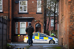 © Licensed to London News Pictures. 29/12/2020. Manchester , UK. Scene where three people were found dead in unexplained circumstances last night (28th December 2020) at a house on Oldham Road in Failsworth, North East Manchester. Photo credit: Joel Goodman/LNP