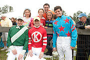 9  April, 2011:  Jockeys (Left to Right) Carl Rafter, Xavier Aizpuru, Ross Geraghty and Liam McVicar pose with fans while raising money for the injured jockeys fund.