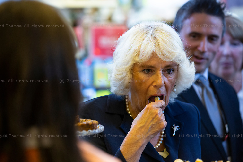 Carmarthen Market, Carmarthen, Wales, UK. 3 July 2019.<br /> <br /> HRH The Duchess of Cornwall visits the indoor market in Carmarthen as part of her visit to the town.<br /> <br /> Credit: Gruffydd Ll. Thomas