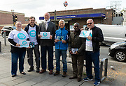 London Member of European Parliament MEP candidates: Simon Marcus 3L,  Ben Habib 3R, Jimi Ogunnusi2R with Brexit Party supporters canvass for the upcoming European elections outside Dagenham Heathway tube station, London, England on May 04, 2019.  Britain must hold European elections on May 23 or leave the European Union with no deal on June 01 after Brexit was delayed until  October 31 2019 after Prime Minister, Theresa May failed to get her Brexit deal approved by Parliament.