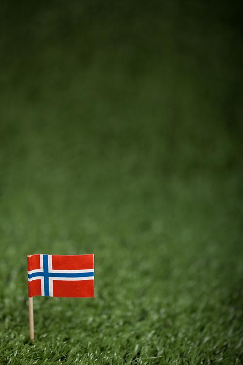 Norsk flagg med trepinne på grønt kunstress. Foto tatt med macro-objektiv, stor dybdeuskarphet. God plass til tekst, spesielt egnet som bakgrunnsbilde.