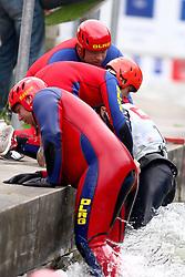11.06.2011, Eiskanal , Augsburg, GER, ICF Wildwater Canoeing Sprint 2011 , im Bild  Maria Bandzakova (SVK) wird von der DLRG aus dem Wasser gezogen, EXPA Pictures © 2011, PhotoCredit: EXPA/ nph/  Straubmeier       ****** out of GER / SWE / CRO  / BEL ******