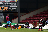 Scunthorpe United forward Hakeeb Adelakun (16) shoots at goal  during the EFL Sky Bet League 1 match between Scunthorpe United and Oldham Athletic at Glanford Park, Scunthorpe, England on 3 March 2018. Picture by Mick Atkins.