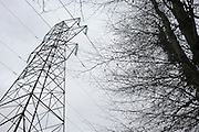 The outline of electricity cables stretch across a gloomy winter sky in woodland near Wrington, North Somerset England. Diagonally, the cables travel across the picture but they are part of a line of L6 pylons that have already crossed many miles of South-West England's countryside, carrying 40,000 Volts along this network of aluminium cables to power some of Bristol's high supply demands. In the foreground we see the bare boughs and branches of trees creating a Sci-Fi scene of ugly 21st technology versus the beauty of nature. Insatiable appetites for raw power and energy means electricity is now an expensive comodity after climbing oil prices doubled electricity utility bills for some domestic users.