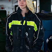 Anna, volunteer. Photographed at sea on patrol in the North Sea.