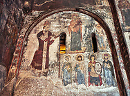 Picture & image of Vardzia medieval cave Church of the Dormition interior secco paintings, part of the cave city and monastery of Vardzia, Erusheti Mountain, southern Georgia (country)<br /> <br /> Inhabited from the 5th century BC, the first identifiable phase of building took place at  Vardzia in the reign of Giorgi III (1156-1184) to be continued by his successor, Queen Tamar 1186, when the Church of the Dormition was carved out of the rock and decorated with frescoes .<br /> <br /> Visit our MEDIEVAL PHOTO COLLECTIONS for more   photos  to download or buy as prints https://funkystock.photoshelter.com/gallery-collection/Medieval-Middle-Ages-Historic-Places-Arcaeological-Sites-Pictures-Images-of/C0000B5ZA54_WD0s<br /> <br /> Visit our REPUBLIC of GEORGIA HISTORIC PLACES PHOTO COLLECTIONS for more photos to browse, download or buy as wall art prints https://funkystock.photoshelter.com/gallery-collection/Pictures-Images-of-Georgia-Country-Historic-Landmark-Places-Museum-Antiquities/C0000c1oD9eVkh9c