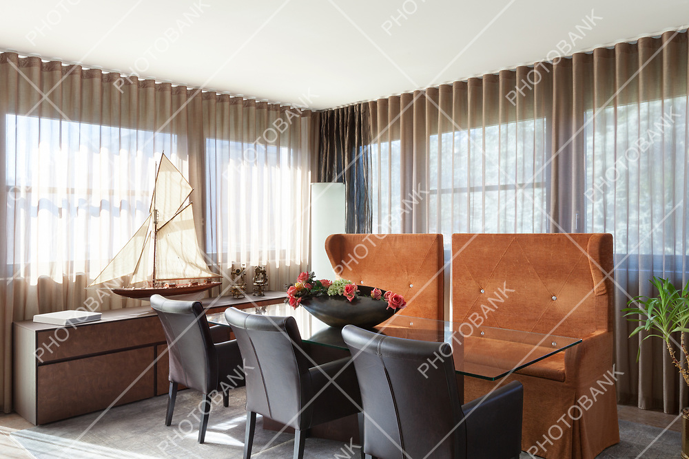 Interiors of new apartment , dining room furnished classical