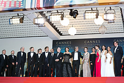 Producer Alexandre Mallet-Guy, actors Eduard Fernandez, Javier Bardem, director Asghar Farhadi, Cannes Film Festival Director Thierry Fremaux, actress Penelope Cruz, wearing jewels by Atelier Swarovski Fine Jewelry, actor Ricardo Darin, actress Carla Campra, actress Elvira Minguez, Barbara Lennie, actress Sara Salamo, Inma Cuesta and producer Alvaro Longoria attending the screening of Everybody Knows (Todos Lo Saben) opening the 71st annual Cannes Film Festival at Palais des Festivals on May 8, 2018 in Cannes, France. Photo by Shootpix/ABACAPRESS.COM