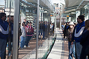 27 DECEMBER 2008 -- PHOENIX, AZ: A train comes into the station at Roosevelt and Central. Metro Light Rail started running Saturday, Dec. 28. The light rail line is 20 miles long and cost $1.4 billion dollars. PHOTO BY JACK KURTZ