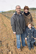 Marc and Sophie Valette with their son Camille Domaine de Canet-Valette Cessenon-sur-Orb St Chinian. Languedoc. Owner winemaker. The vineyard. France. Europe.