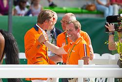 Jeroen Dubbeldam, Rob Ehrens, Gerco Schroder (NED) - Show Jumping Final Four - Alltech FEI World Equestrian Games™ 2014 - Normandy, France.<br /> © Hippo Foto Team - Leanjo de Koster<br /> 07-09-14