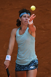 May 6, 2018 - Madrid, Spain - Carla Suarez against Barbora Strycova  during day two of the Mutua Madrid Open tennis tournament at the Caja Magica on May 6, 2018 in Madrid, Spain. (Credit Image: © Oscar Gonzalez/NurPhoto via ZUMA Press)