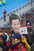 Spectators hold up Shaun White placards during the mens Snowboard Halfpipe Finals of the Pyeongchang Winter Olympics on 14th February 2018 in South Korea