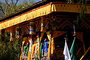 Tthe brightly decorated VIP grandstand at the Paro festival. Paro, Bhutan. Druk Yul. 11 November 2007