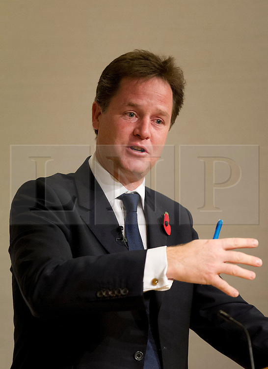 © Licensed to London News Pictures. 29/10/2012. LONDON, UK. The Deputy Prime Minister, Nick Clegg, is seen giving a speech on city deals and devolution at a conference held at the Royal Society in London today (29/10/12). Photo credit: Matt Cetti-Roberts/LNP