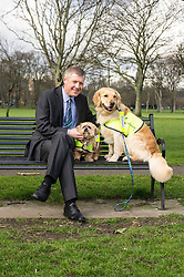 Pictured: After a good walk; a nice rest; Willie Rennie withMercy (Llasa Apso) and Mack (golden retriever) a<br /> <br /> The Scottish Liberal Democrat leader Willie Rennie highlighted analysis revealing the number of working days lost across Scotland due to depression as he met therapy animals from Canine Concern Scotland, a charity which supports people with mental health issues and other conditions. <br /> <br /> Ger Harley   EEm 31 March 2016