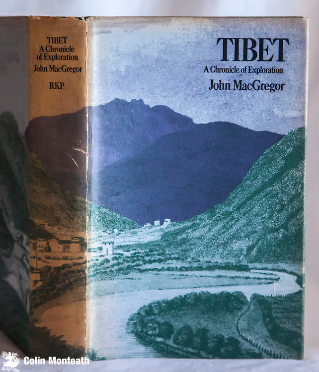 TIBET - A CHRONICLE OF EXPLORATION -  John MacGregor, 1st edn., Routledge & Kegan, London, original green cloth 370 page hardback VG, complete jacket though browned on spine, B&W plates, maps, thorough research on early travellers to tibet, The Jesuits, Desideri, Bogle, Turner, Manning, The Pundits, Russians, Younghusband etc - uncommon $NZ65