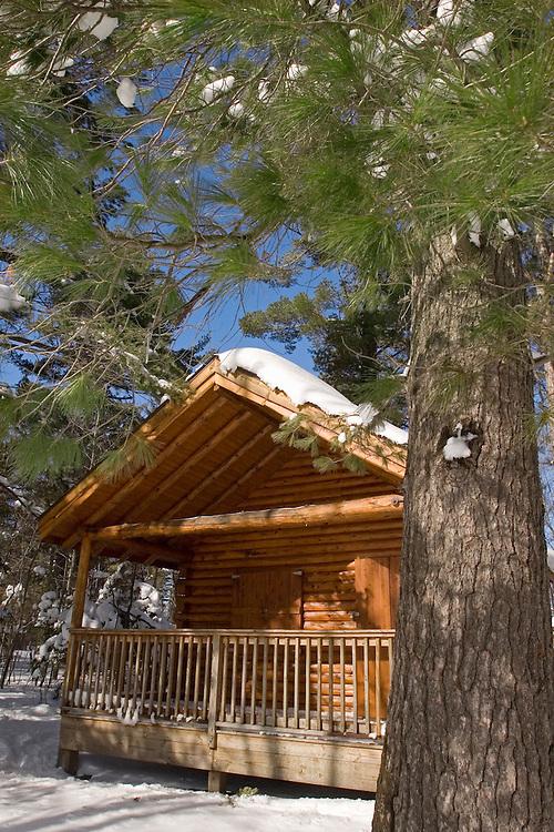 Exterior views of a cabin at Harlow Lake in Michigan's Upper Peninsula.