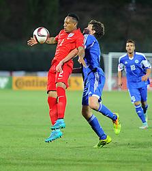 Nathaniel Clyne of England (Liverpool) battles for the ball with Nicola Chiaruzzi of San Marino (SP Tre Penne)  - Mandatory byline: Joe Meredith/JMP - 07966386802 - 05/09/2015 - FOOTBALL- INTERNATIONAL - San Marino Stadium - Serravalle - San Marino v England - UEFA EURO Qualifers Group Stage