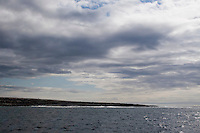 View of the Aran Islands from the sea in Galway Ireland