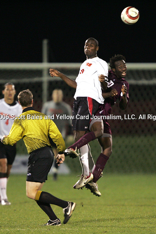 1 November 2006: Maryland's Maurice Edu (leaping, left) and Boston College's Reuben Ayarna (right). Maryland defeated Boston College 1-0 in double overtime at the Maryland Soccerplex in Germantown, Maryland in an Atlantic Coast Conference college soccer tournament quarterfinal game.