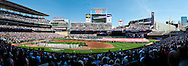 [Note:  This panorama was stitched from multiple photos during post-processing] A panoramic view of Target Field during the national anthem on Opening Day on April 8, 2011.  The game featured the Minnesota Twins and the Oakland Athletics.