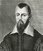 'Isaac Casaubon (1559-1616 )  born in Geneva of French Hugeunot Protestant parents.  Classcical scholar, and philologist who lived in England from 1610 and who was naturalised in 1613. Engraving.'