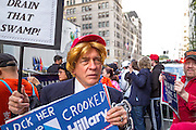 A colorful male supporter of Donald J. Trump at a gathering on New York's Fifth Avenue in front of Trump Tower the Saturday before the November 2017 election