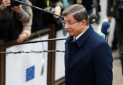 Turkish Prime Minister Ahmet Davutoglu arrives on the second day of a two-day European Union leaders summit at the EU Council headquarters in Brussels, Belgium, March 18, 2016. EXPA Pictures © 2016, PhotoCredit: EXPA/ Photoshot/ Ye Pingfan<br /> <br /> *****ATTENTION - for AUT, SLO, CRO, SRB, BIH, MAZ, SUI only*****