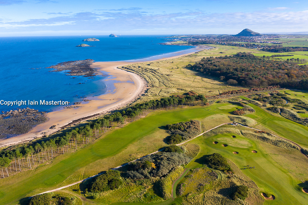 Aerial view of Fidra Links golf course at Archerfield Links golf club and Yellowcraigs Beach in East Lothian, Scotland , UK