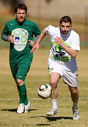 Ales Zavrl of NZS and Jernej Suhadolnik during the friendly match between Slovenian football journalists and officials of Slovenian football federation at  Hyde Park High School Stadium on June 16, 2010 in Johannesburg, South Africa.  (Photo by Vid Ponikvar / Sportida)