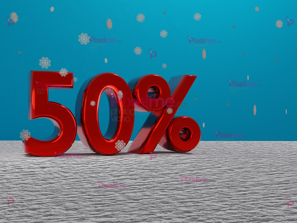 red 50 fifty percent sign in a winter setting with snow and snowflakes falling and blue background - 3d rendering