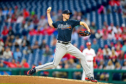 May 22, 2018 - Philadelphia, PA, U.S. - PHILADELPHIA, PA - MAY 22: Atlanta Braves starting pitcher Brandon McCarthy (32) winds up to throw during the MLB game between the Atlanta Braves and the Philadelphia Phillies on May 22, 2018 at Citizens Bank Park in Philadelphia PA. (Photo by Gavin Baker/Icon Sportswire) (Credit Image: © Gavin Baker/Icon SMI via ZUMA Press)
