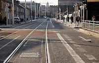LUAS tram lines in Dublin city centre Ireland