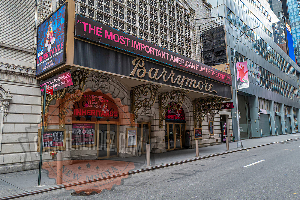 The Barrymore theater remains closed during the holiday season with Coronavirus (Covid-19) outbreak in Manhattan, New York on Tuesday, December 8, 2020. (Alex Menendez via AP)